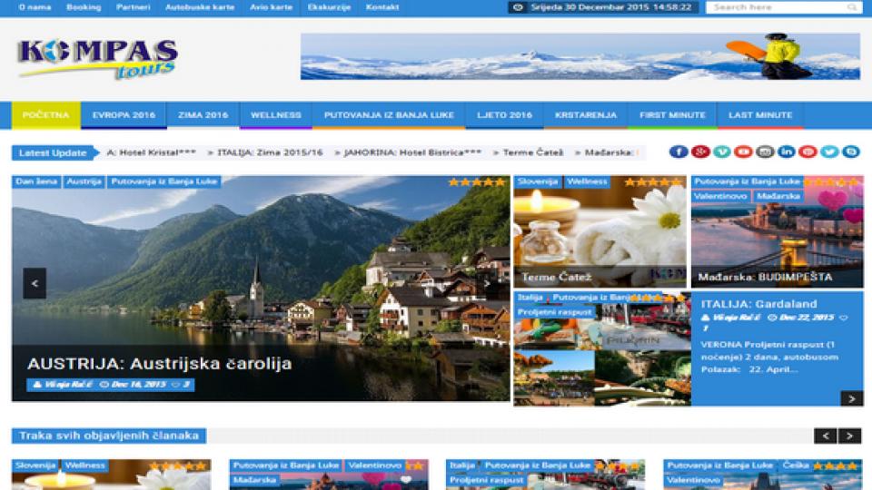 Kompas tours Banja Luka – INdizajn Studio – izrada web stranica i graficki dizajn