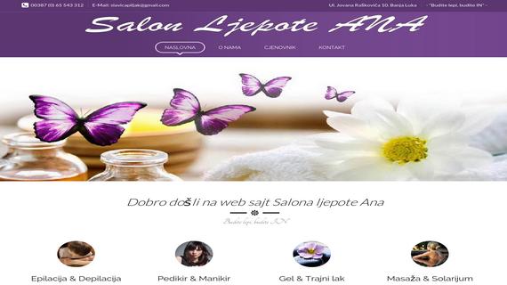 Salon ljepote ANA Banja Luka - INdizajn Studio - izrada web stranica i graficki dizajn